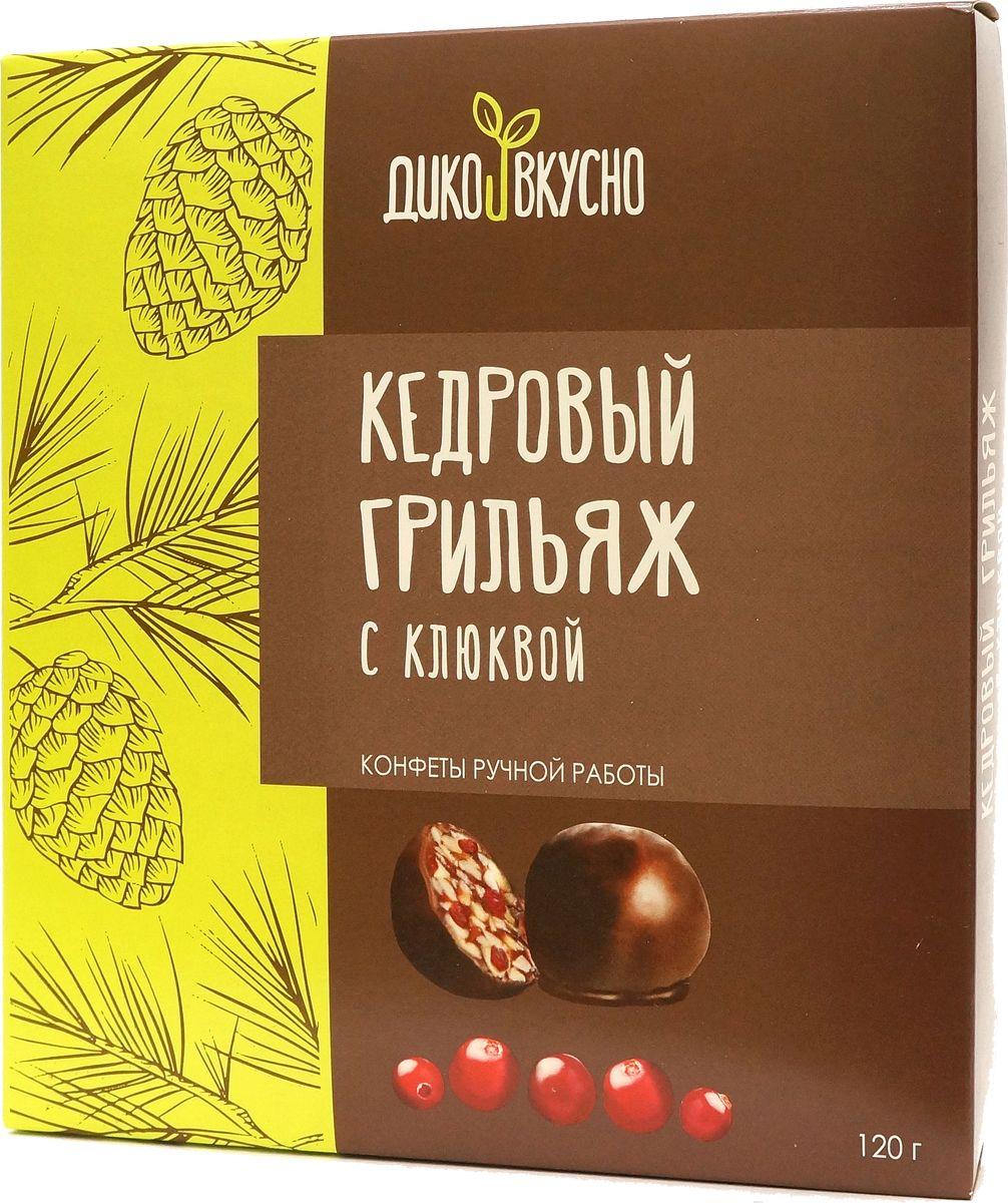 Дико Вкусно Грильяж кедровый с клюквой в шоколадной глазури, 120 г