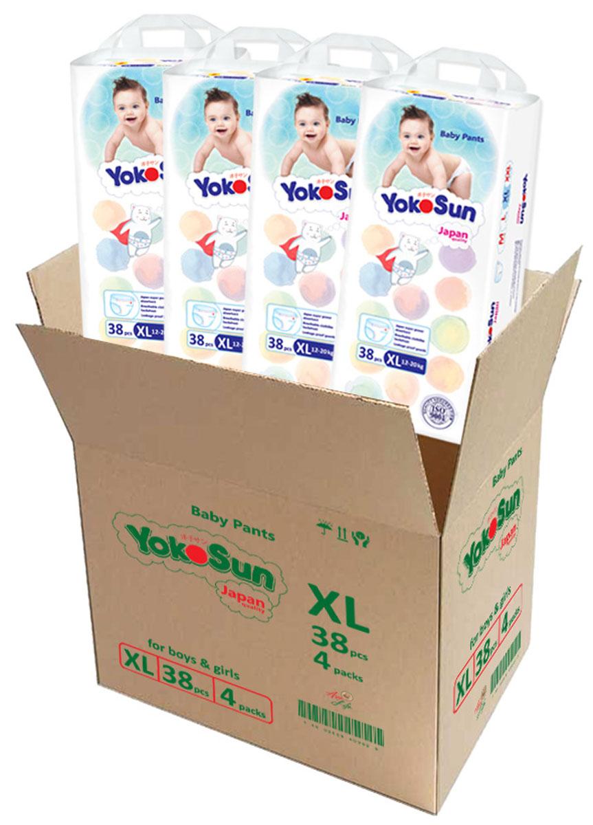 YokoSun Подгузники-трусики XL (12-20 кг) 4 х 38 шт yokosun подгузники m 5 10 кг 4 х 62 шт