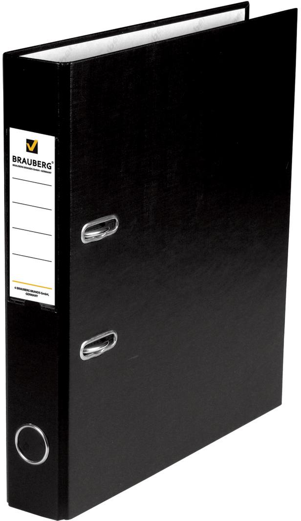 Brauberg Папка-регистратор цвет черный 220886220886Папки-регистраторы Brauberg изготовлены из высококачественного картона, покрытого цветным пластиком. Служат в 2 раза дольше по сравнению с обычными картонными папками.