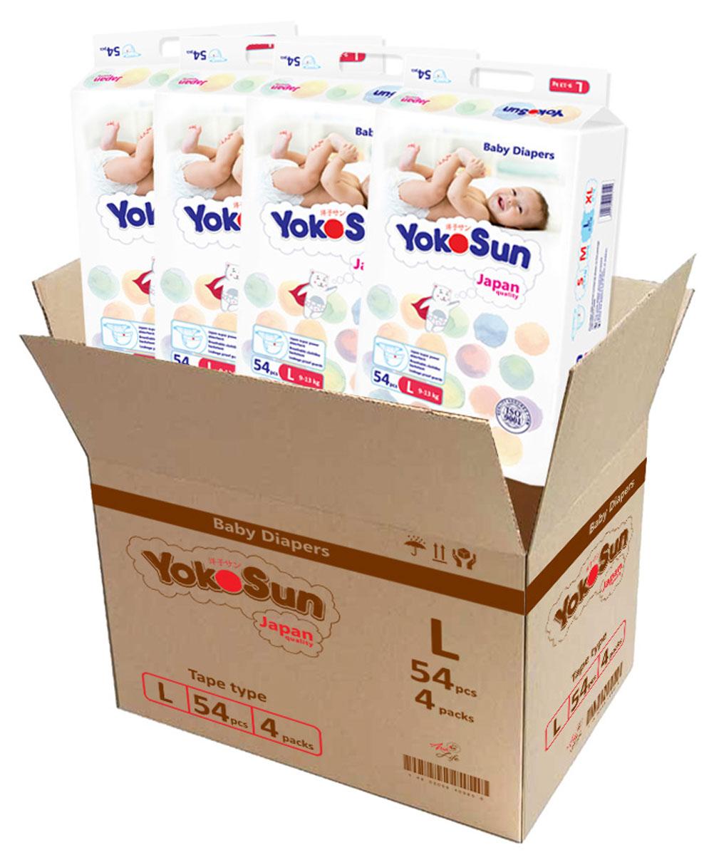 YokoSun Подгузники L (9-13 кг) 4 х 54 шт yokosun подгузники m 5 10 кг 4 х 62 шт
