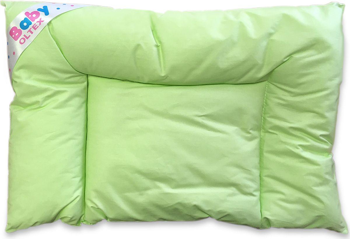 """Подушка """"Ol-tex BABY"""" из коллекции """"Бамбук"""" для новорожденных - это низкая подушка для маленького ребенка, и к тому же за ней легко ухаживать. Чехол подушки выполнен из тика (100% хлопок) фисташкового цвета. Подушка с волокнами бамбука обладает антибактериальными свойствами.Подушка очень удобная, дышащая."""