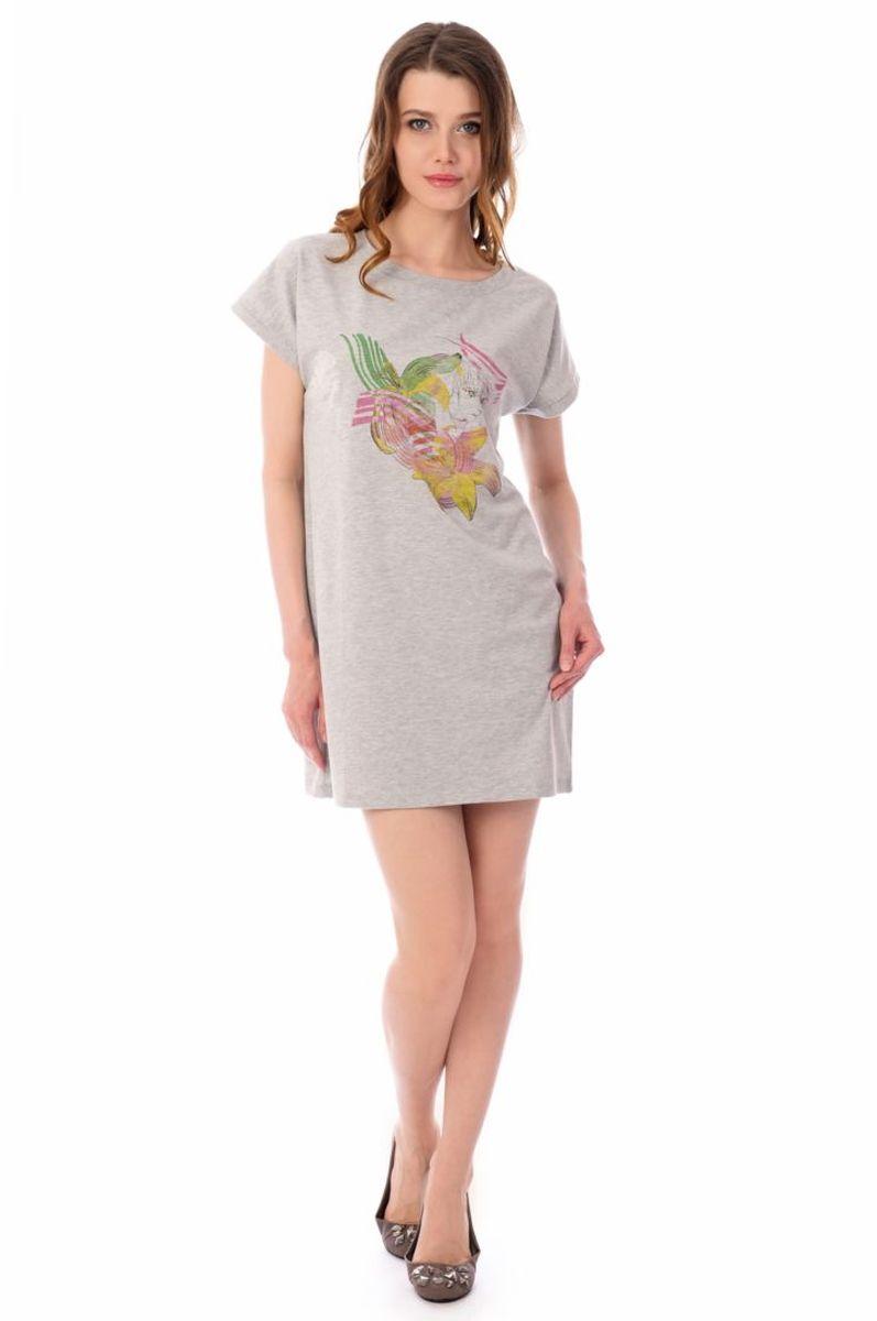 Платье домашнее женское Melado База, цвет: светло-серый. ML2630/01. Размер 50 платье женское f5 цвет серый синий 271014 grey check 2 размер s 44