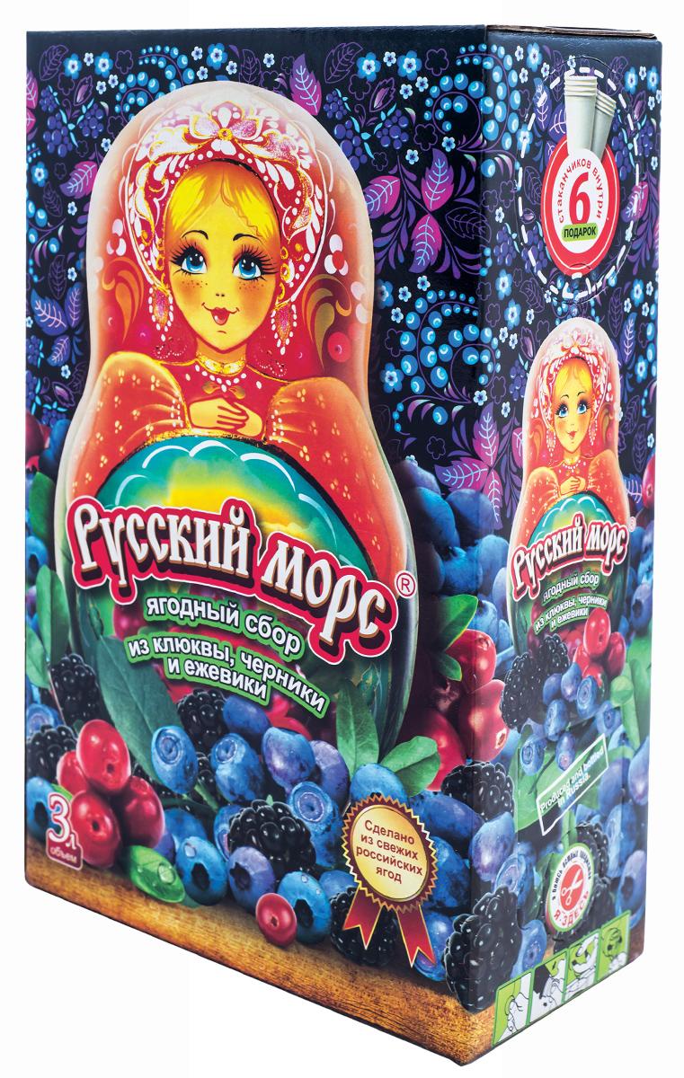 Русский Морс из клюквы, черники и ежевики, 3 л