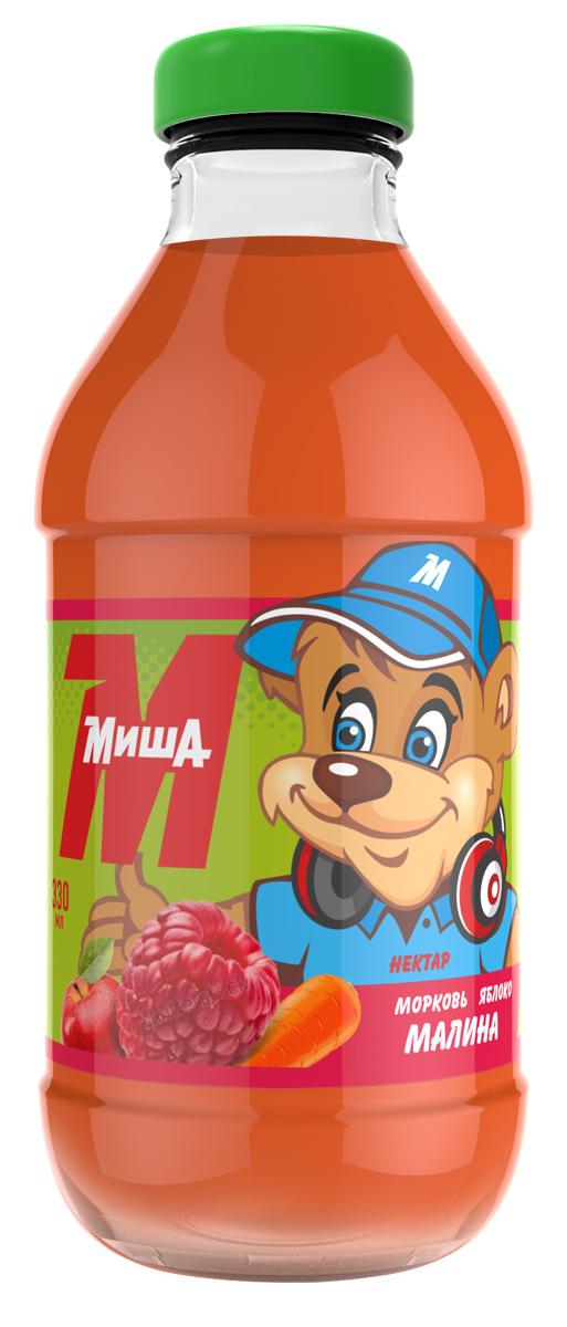 Миша Нектар Морковь-яблоко-малина, 0,33 л нектар яблоко виноград каждый день 2л