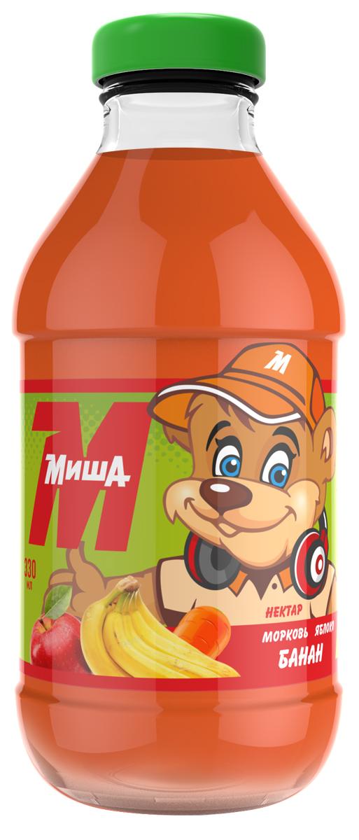 Миша Нектар Морковь-яблоко-банан, 0,33 л миша нектар морковь яблоко персик 0 33 л