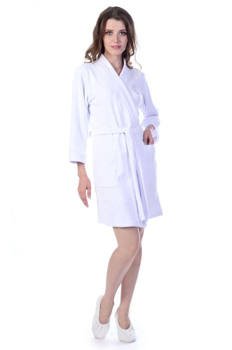Халат женский Melado База, цвет: белый. MM2586/02. Размер 52 халат женский melado пейсли цвет розовый 8102l 75002 1s 051 размер 52