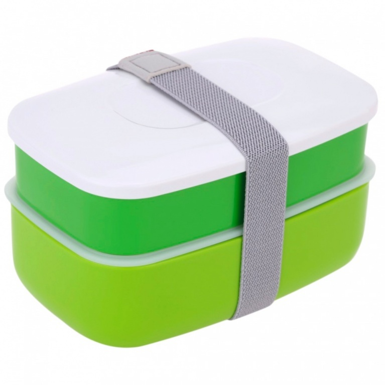 Ланч-бокс Bradex, с двумя отделениями и приборами, цвет: зеленый, белый, 17,5 х 11,7 х 10 см ранец bradex цвет черный белый