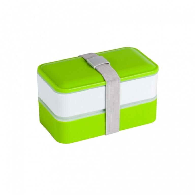 Ланч-бокс Bradex, с двумя отделениями и приборами, цвет: зеленый, белый, 18,5 х 10,8 х 10,9 см ранец bradex цвет черный белый
