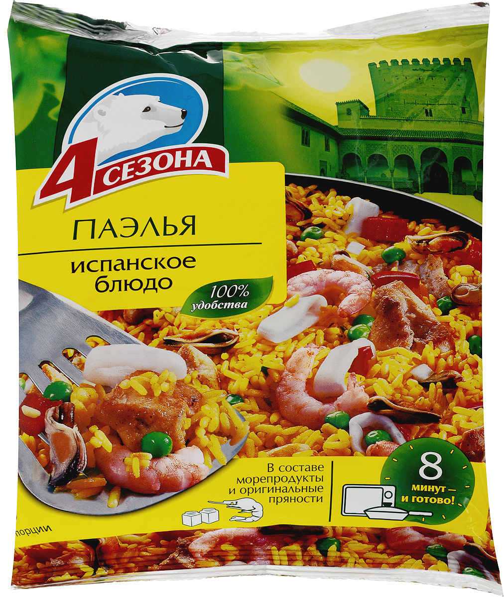 4 Сезона Паэлья, 600 г63000010Продукт сбалансирован и полностью готов к употреблению. Является традиционным испанским блюдом, основу которого составляет рис и оливковое масло. Всевозможные вариации с добавлением овощей, мяса, курицы или морепродуктов, позволяют готовить паэлью