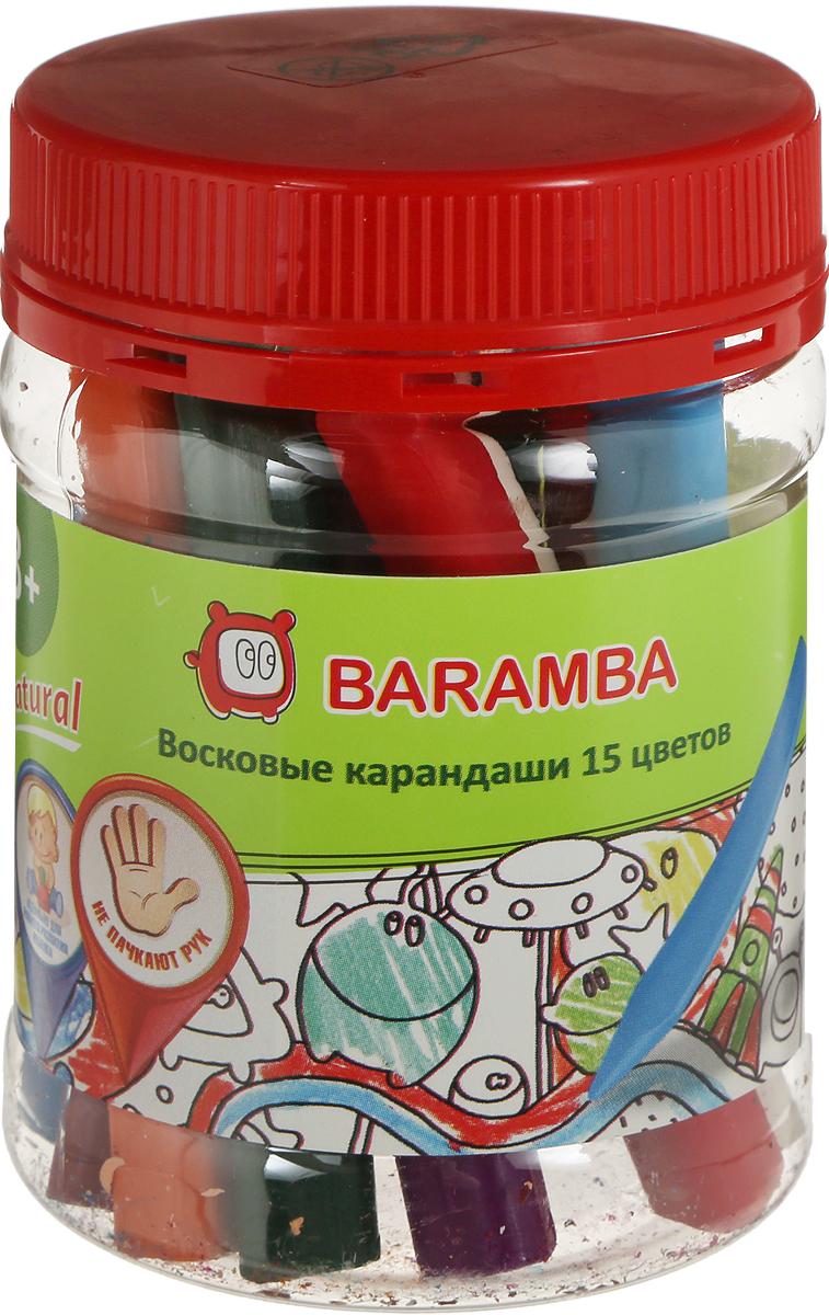 Baramba Набор восковых треугольных карандашей 15 шт с точилкой