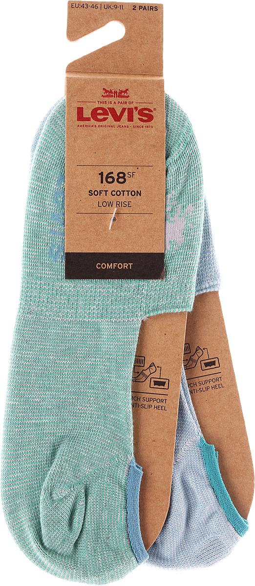 Носки мужские Levi's®, цвет: зеленый, серый, 2 пары. 3715900130. Размер 35 jd коллекция светло телесный 12 пар носков 15d две кости размер