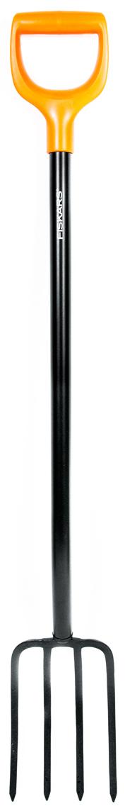 """Вилы Fiskars серии """"Solid"""" предназначены для продолжительной работы в саду и огороде. Прочное сварное соединение стального черенка и лезвия обеспечивает длительный срок службы инструмента. Эргономичная рукоятка позволяет прилагать меньше усилий при работе. К тому же, использование качественных материалов обеспечивает долговечность и комфорт. Все инструменты серии Solid легко узнать по фирменным цветам Fiskars: они окрашены в черный цвет и оснащены яркой оранжевой рукояткой. Вилы подходят для уборки садового мусора. Пластиковая рукоятка в форме буквы D подойдет для руки любого размера, а также для работы в перчатках и без. Надежный и прочный черенок круглого сечения из нержавеющей стали. Угол подъема 20°. Использование борсодержащей стали придает зубьям дополнительную жесткость и обеспечивает легкое проникновение в почву."""