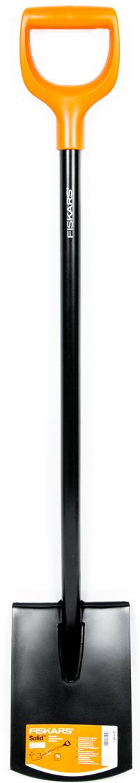 Прямое лезвие позволяет легко обрабатывать кромку газона, копать и  разрыхлять землю. Пластиковая рукоятка в форме буквы D подойдет для руки  любого размера, а также для работы в перчатках и без. Надежный и прочный  стальной черенок круглого сечения. Сварное соединение между лезвиям и  черенком обеспечивает надежность. Использование борсодержащей стали  придает лопате дополнительную жесткость и обеспечивает легкое  проникновение в почву.