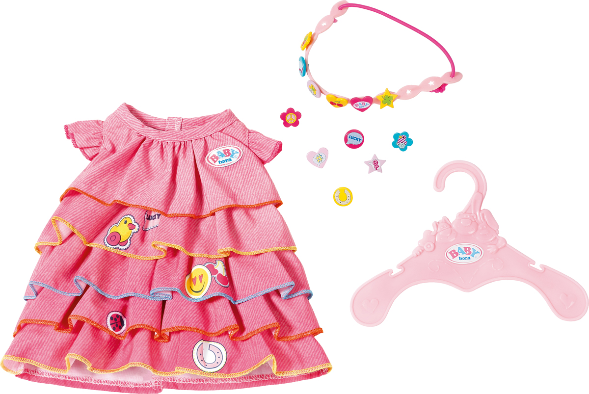 Zapf Creation Платье и ободок-украшение для куклы BABY born rhinestones halo drop dangle clip on earrings
