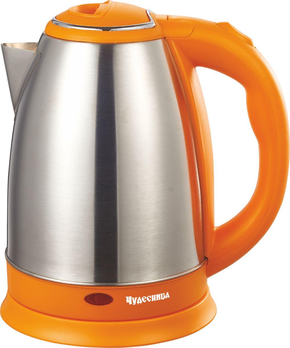 Чудесница ЭЧ-2018, Orange чайник электрическийЭЧ-2018Электрический чайник Чудесница. Объем 1,8л, мощность: 1800 Вт, диск, световая индикация работы, двойной контроллер, автоматическое отключение при закипании, автоматическое отключение без воды, вращение на подставке на 360 градусов