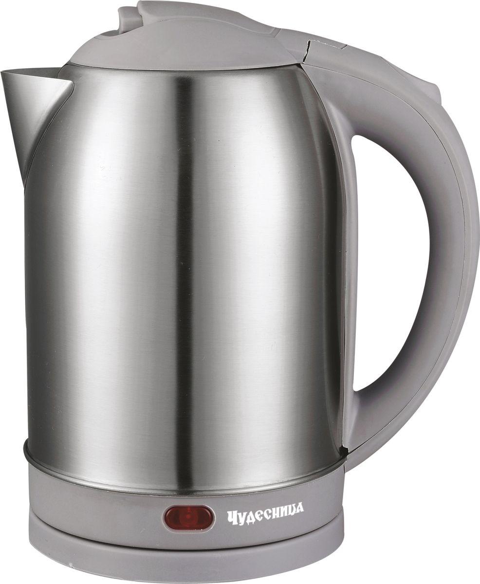 Чудесница ЭЧ-2029, Gray чайник электрическийЭЧ-2029Электрический чайник Чудесница. Объем 2л, мощность: 1800 Вт, диск, световая индикация работы, двойной контроллер, автоматическое отключение при закипании, автоматическое отключение без воды, вращение на подставке на 360 градусов