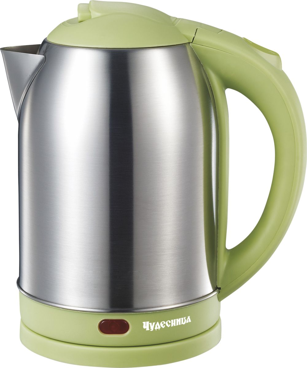 Чудесница ЭЧ-2030, Green чайник электрическийЭЧ-2030Электрический чайник Чудесница. Объем 2л, мощность: 1800 Вт, диск, световая индикация работы, двойной контроллер, автоматическое отключение при закипании, автоматическое отключение без воды, вращение на подставке на 360 градусов