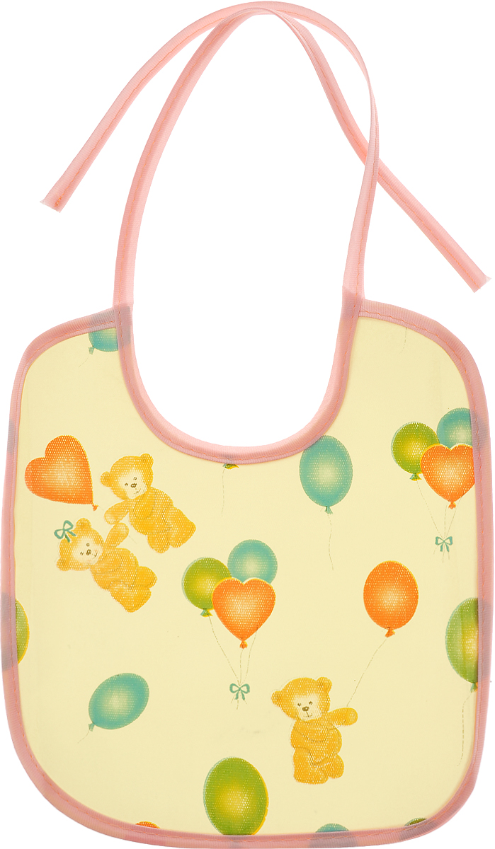 Колорит Нагрудник Мишки с шариками цвет желтый персиковый 20 см х 22 см