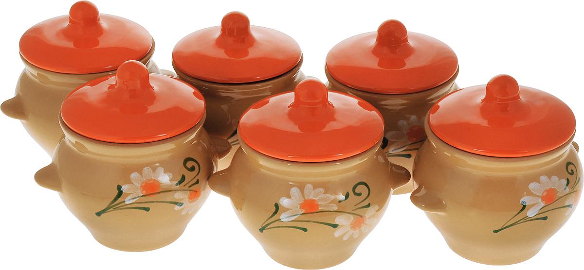 Набор горшочков для запекания Борисовская керамика Стандарт. Цветок, с крышками, цвет: оранжевый, 500 мл, 6 штОБЧ00000119_оранжевый/цветок
