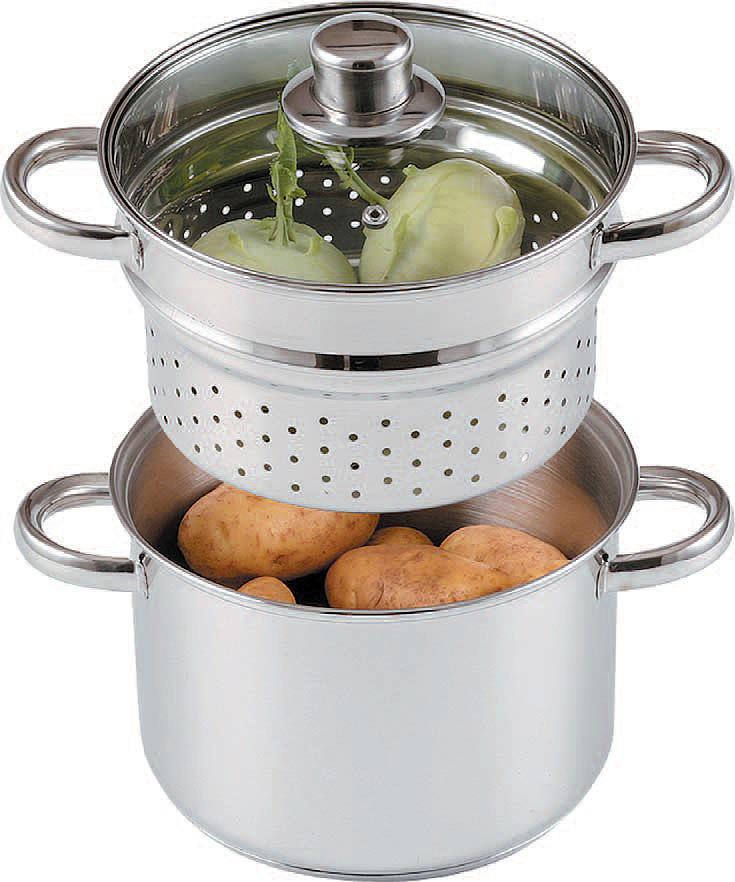 Пароварка SSW Vitalo, с крышкой, 3 л. Диаметр 20 см421621Пароварка SSW - двухуровневая посуда для приготовления диетических блюд на водяном пару. Принцип работы пароварки прост: на дно кастрюли наливается вода, которая при нагревании образует пар. Пар проходит через отверстия в поддонах и воздействует на продукты, которые размещены непосредственно на платформе. Пароварка SSW не только станет идеальным дополнением на кухне, но и позволит перевести приготовление ваших любимых блюд на качественно новый уровень.