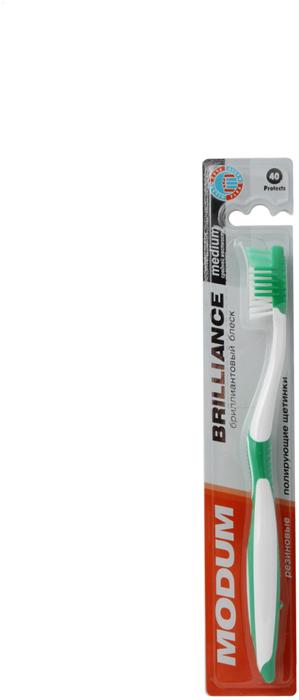 Modum Щетка зубная Modum Brilliance средней жесткостиM020-510Для изготовления зубной щётки Modum Brilliance используется высококачественное синтетическое волокно РА 6.12 фирмы DUPONT средней жесткости и чистящие резиновые щетинки, мягко полирующие эмаль зубов и массирующие десны. На обратной стороне головки щётки имеется резиновая подушечка для чистки языка. Комфортная ручка с резиновыми накладками предотвращает скольжение руки и делает щётку удобной в использовании.