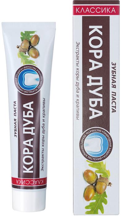 Modum Зубная паста Кора дуба Классика, 150 гA030-203Зубная паста с экстрактом коры дуба укрепляет и защищает ваши дёсны. Специально подобранный состав превосходно очищает зубы от налёта и надолго освежает дыхание. В составе зубной пасты используются натуральные и проверенные временем экстракты лекарственных растений. Экстракт коры дуба обладает противовоспалительными, антисептическими и кровоостанавливающими свойствами. Дубильные вещества экстракта взаимодействуют с белками пораженной десны и образуют защитную структуру, предохраняющую от раздражения и воспаления, а также приостанавливает рост патогенных микроорганизмов. Экстракт крапивы обладает кровоостанавливающим, тонизирующим, противовоспалительным действием. Хлорофилл, содержащийся в экстракте, улучшает обмен веществ, стимулирует грануляцию и эпителизацию поврежденных тканей десны и слизистой оболочки полости рта.