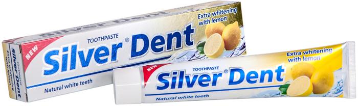 Modum Зубная паста Экстра отбеливание с лимоном Silver Dent, 100 гA107-203При ежедневном применении зубная паста Silver Dent обеспечит надежную защиту ваших зубов.Природный абразив обеспечивает бережную, но при этом эффективную очистку поверхности зубной эмали, а специальная добавка (пирофосфат натрия) предупреждает образование зубного камня, тем самым возвращая природную белизну зубам. Комплекс активных добавок прекрасно ухаживает за деснами и слизистой полости рта. Эфирное масло лимона обладает дезодорирующим действием, прекрасно освежает полость рта. Паста имеет приятный мятный вкус и надолго дарит дыханию чистоту и свежесть.