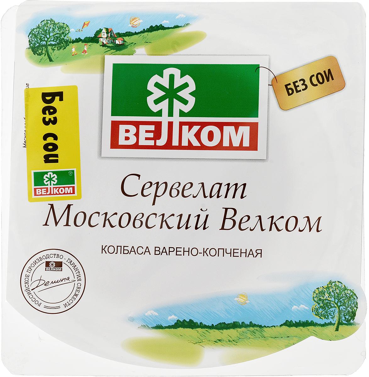 Велком Московский сервелат варено-копченый, 350 г дымов сервелат варено копченый 330 г
