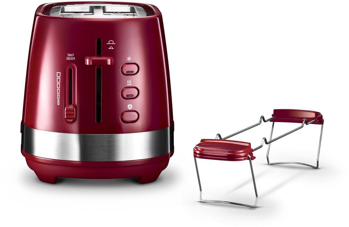 DeLonghi CTLA2103, Red тостер0230020015Тостеры Active Line – это новая коллекция для завтрака выполненная в минималистичном дизайне, украшенная металлическими кольцами из нержавеющей стали. Коллекция изготовлена из пластика высокого качества и включает в себя так же тостер красного цвета – это цвет креативности и любознательности. Он символизирует стремление жить полной жизнью, и побуждает излучать оптимизм и позитив вне зависимости от внешних обстоятельств.