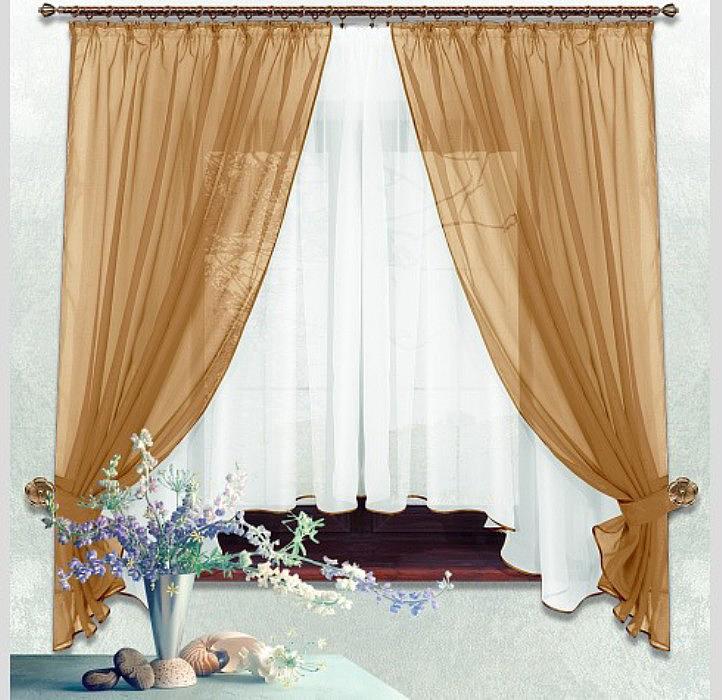 Комплект штор Nivasan Лидия, с тюлем и прихватами, на ленте, цвет: светло-коричневый, высота 170 см, ширина 140 см шторы kauffort классические шторы rikaro цвет светло бежевый