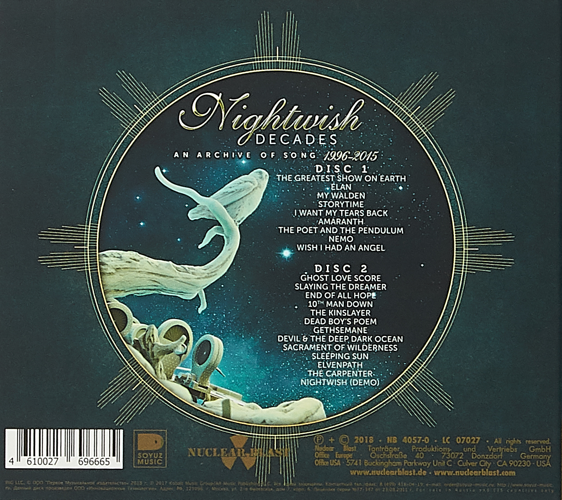 Nightwish.  Decades.  An Archive Of Song 1996-2015 (2 CD) Nuclear Blast