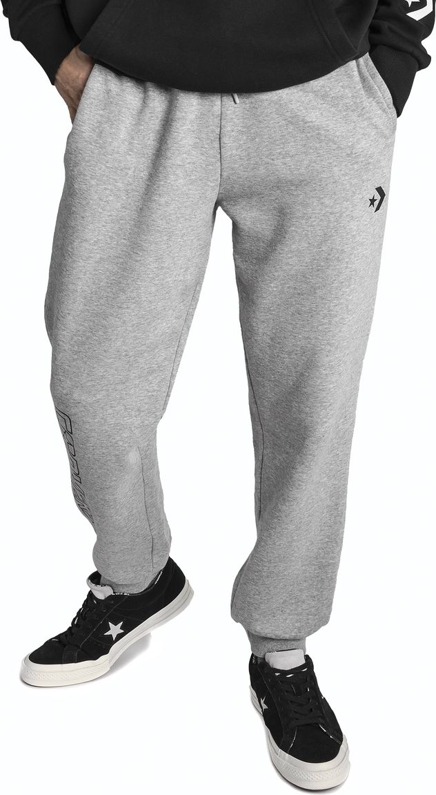 Брюки спортивные мужские Converse Star Chevron FT Graphic Jogger, цвет: серый. 10007236035. Размер XS (44) юбка converse star chevon track skirt цвет синий 10005759426 размер xs 42