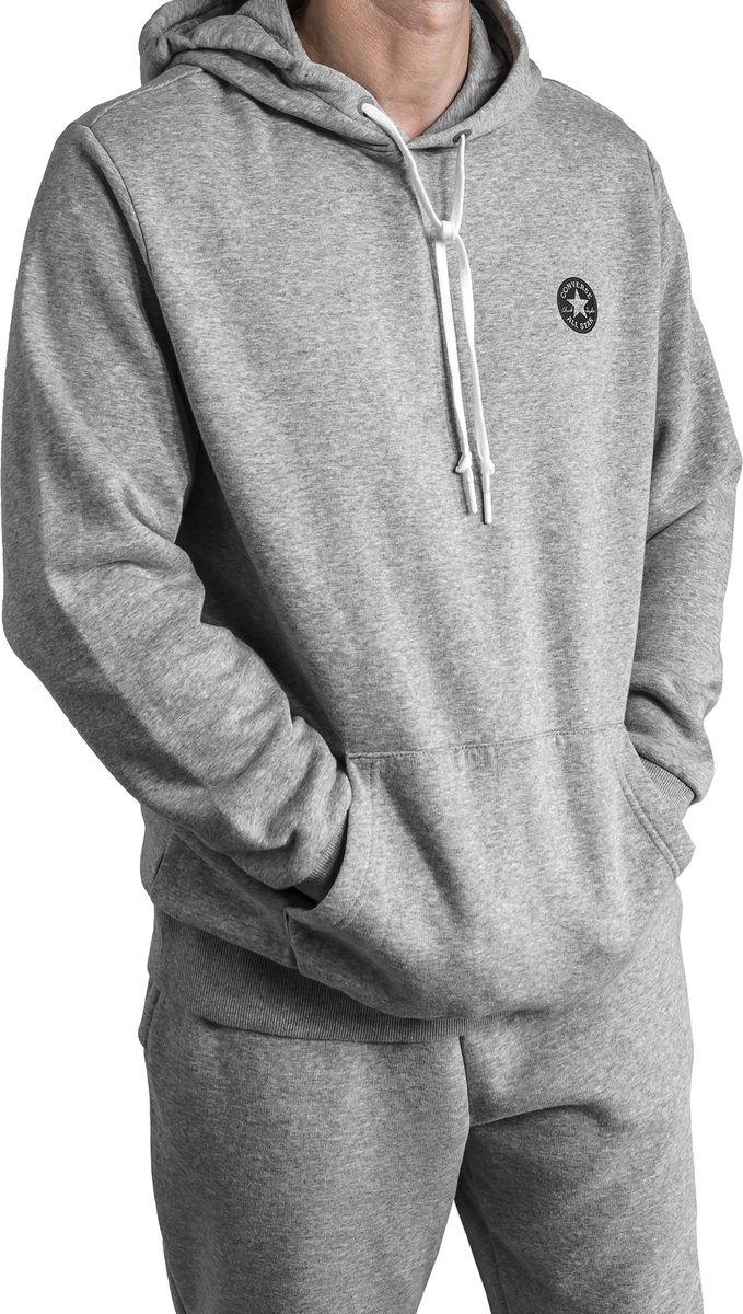Толстовка мужская Converse Chuck Patch Graphic Pullover Hoodie, цвет: серый. 10006680035. Размер L (50) kangaroo pocket pullover hoodie