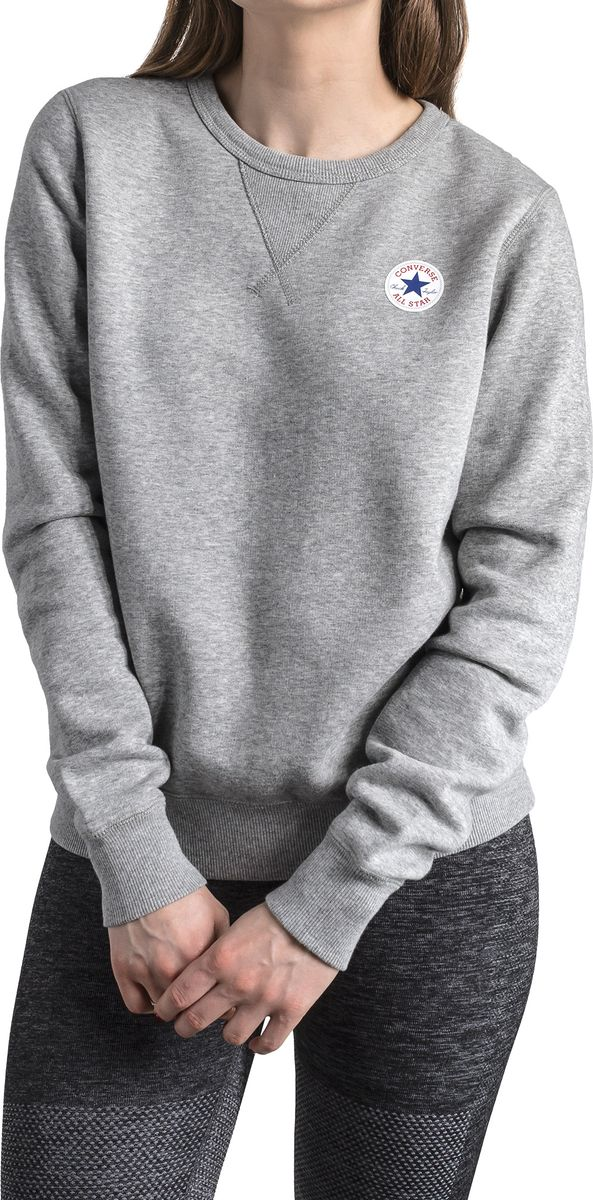 Купить Свитшот женский Converse Core Crew - FT, цвет: серый. 10006447035. Размер M (46)