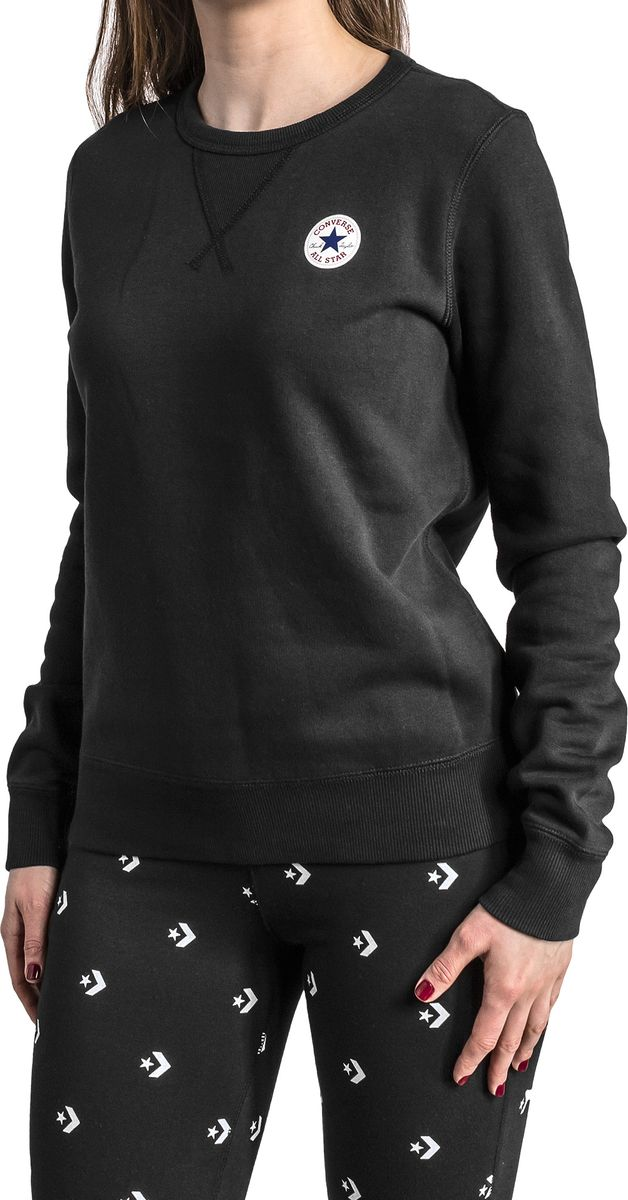 Купить Свитшот женский Converse Core Crew - FT, цвет: черный. 10006447001. Размер M (46)
