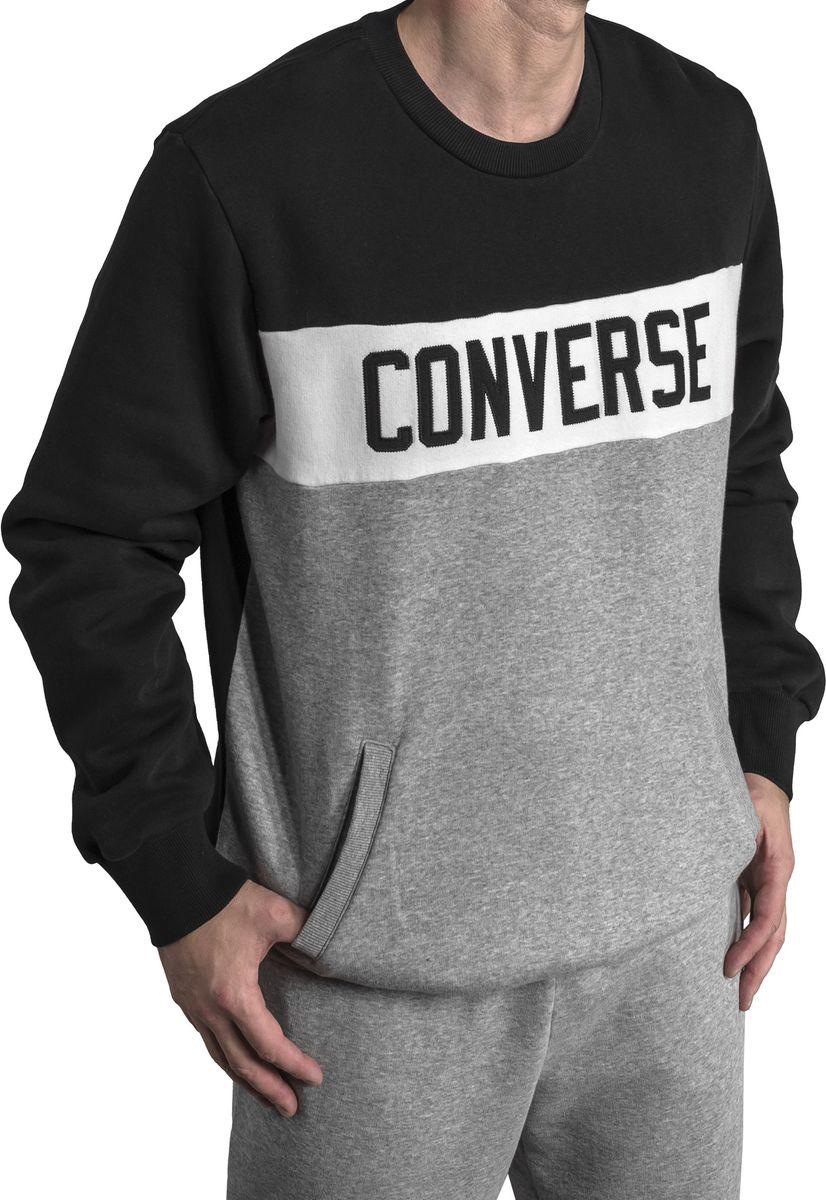 Свитшот мужской Converse Colorblock Crew, цвет: черный, серый. 10005834001. Размер L (50) свитшот женский converse star chervon track cropped crew цвет серый 10005758035 размер xs 42