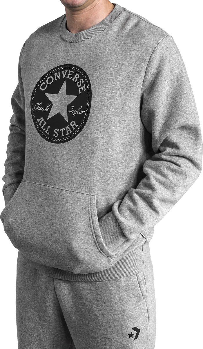 Свитшот мужской Converse Chuck Patch Graphic Crew, цвет: серый. 10005825035. Размер L (50) свитшот женский converse star chervon track cropped crew цвет серый 10005758035 размер xs 42