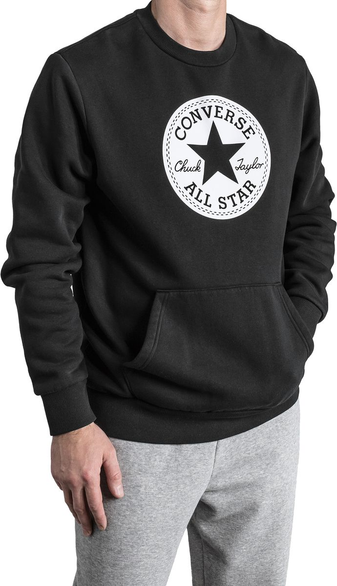 Свитшот мужской Converse Chuck Patch Graphic Crew, цвет: черный. 10005825001. Размер XL (52)