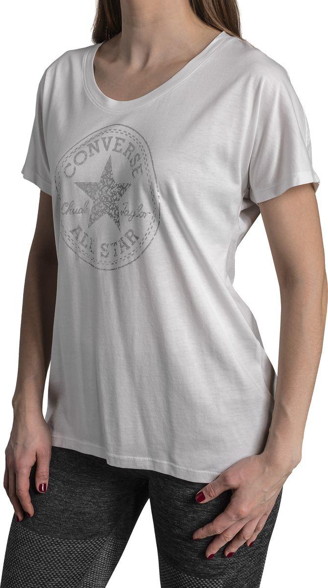 Футболка женская Converse Metallic Speckled Print CP Fill Femme Tee, цвет: белый. 10005777102. Размер XS (42) boys letter print tee