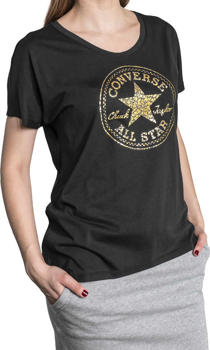 Фото - Футболка женская Converse Metallic Speckled Print CP Fill Femme Tee, цвет: черный. 10005777001. Размер M (46) girl print open shoulder tee