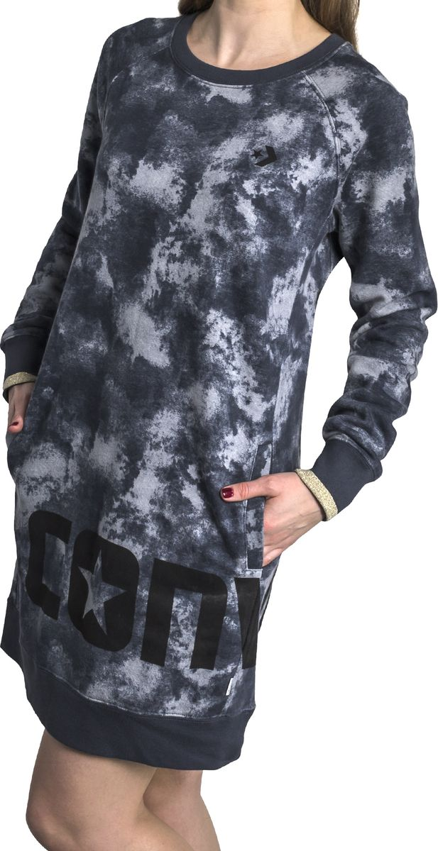 Платье Converse Smoke Print Long Sleeve Dress, цвет: черный. 10005740001. Размер L (48) branch print long sleeve tee