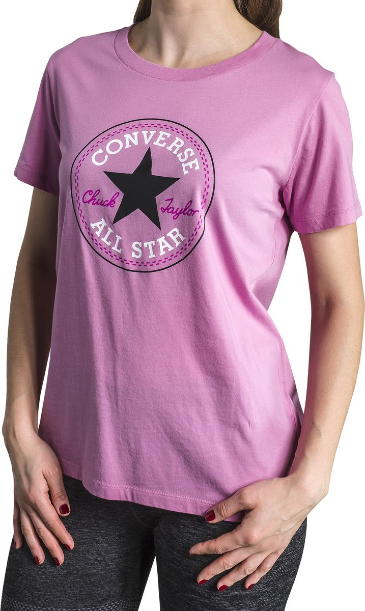 Футболка женская Converse Core Solid Chuck Patch Crew, цвет: сиреневый. 10001124523. Размер M (46) футболка converse converse co011ebskb99