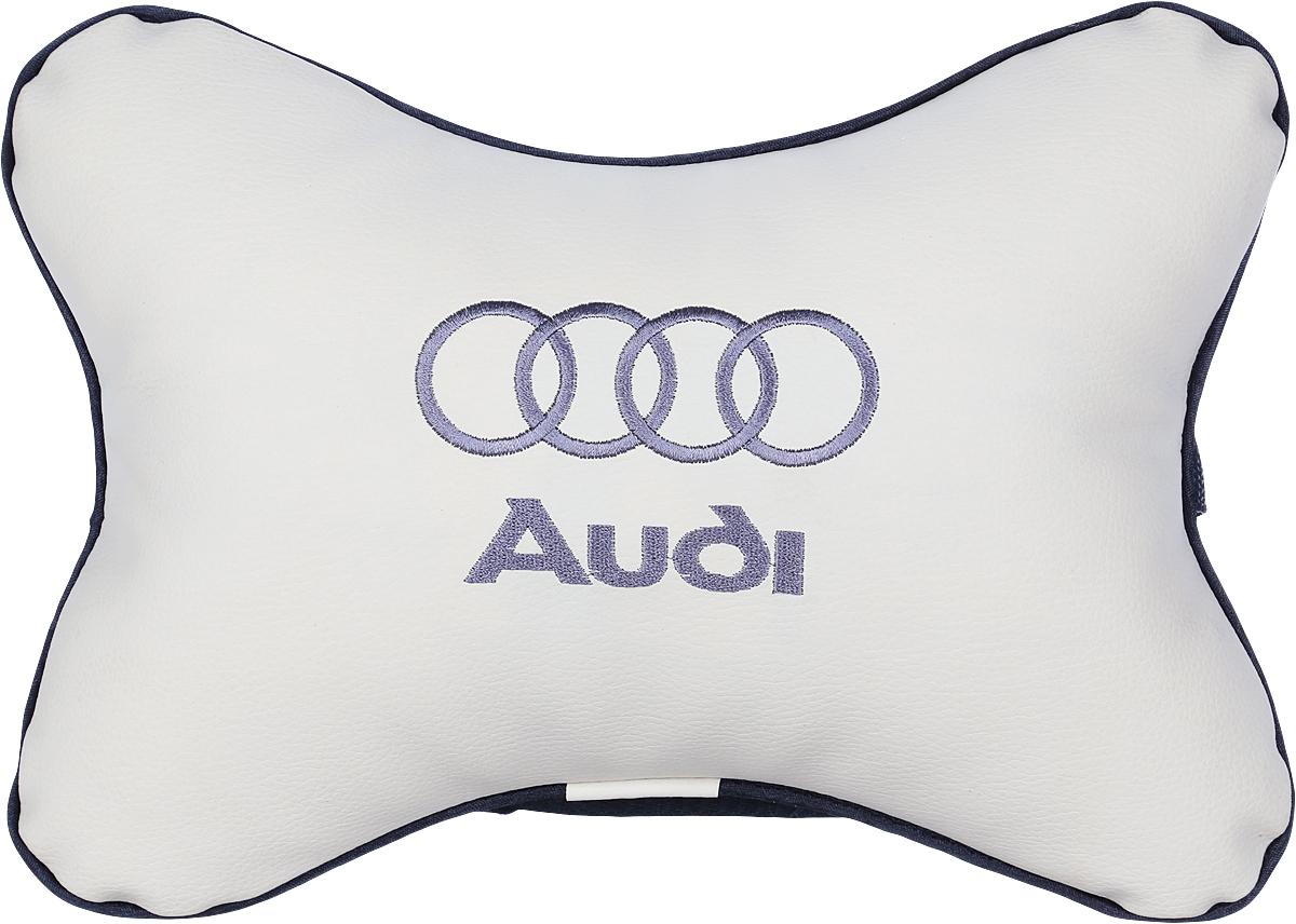 Подушка автомобильная Autoparts Audi, на подголовник, цвет: бежевый, 30 х 20 см