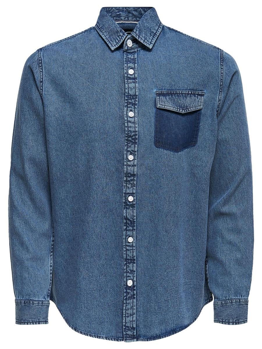 Купить Рубашка мужская Only & Sons, цвет: синий. 22008745_Medium Blue Denim. Размер M (48)