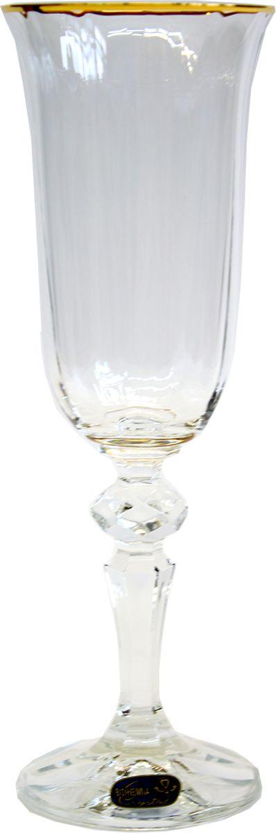 """Набор бокалов для шампанского Bohemia Crystal коллекции """"Кристина"""" изготовлен из хрустального высококачественного богемского стекла. коллекция """"Кристина"""" - это широкая слегка вытянутая чаша с рельефной поверхностью и отделкой позолотой, а также узкая граненая ножка с устойчивым основанием. Эти бокалы идеально подойдут для дорогих, благородных напитков."""