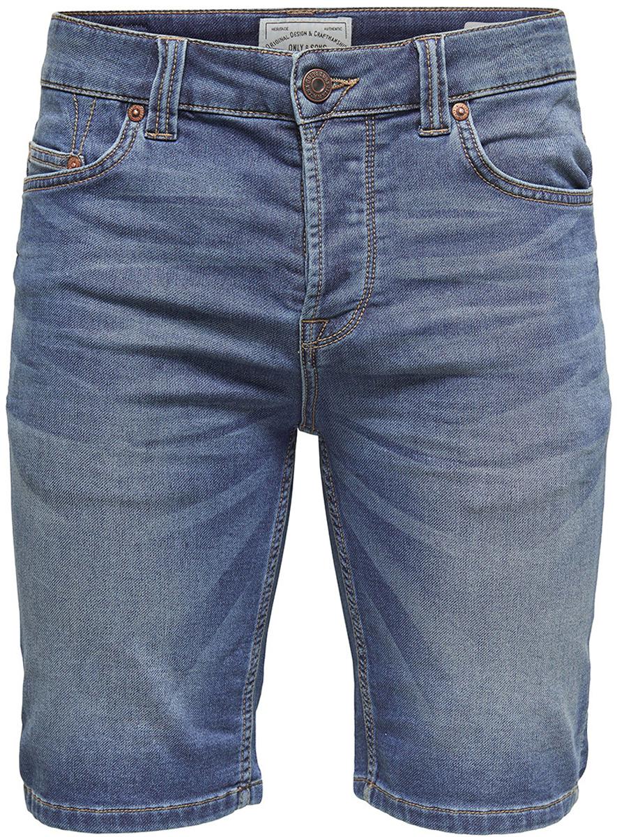 Шорты мужские Only & Sons, цвет: синий. 22008473_Blue Denim. Размер 32 (46/48)22008473_Blue DenimДжинсовые шорты от Only & Sons выполнены из эластичного хлопкового денима. Модель в поясе застегивается на пуговицу и имеет ширинку на молнии и шлевки для ремня. Шорты имеют классический пятикарманный крой, характерный для джинсов.