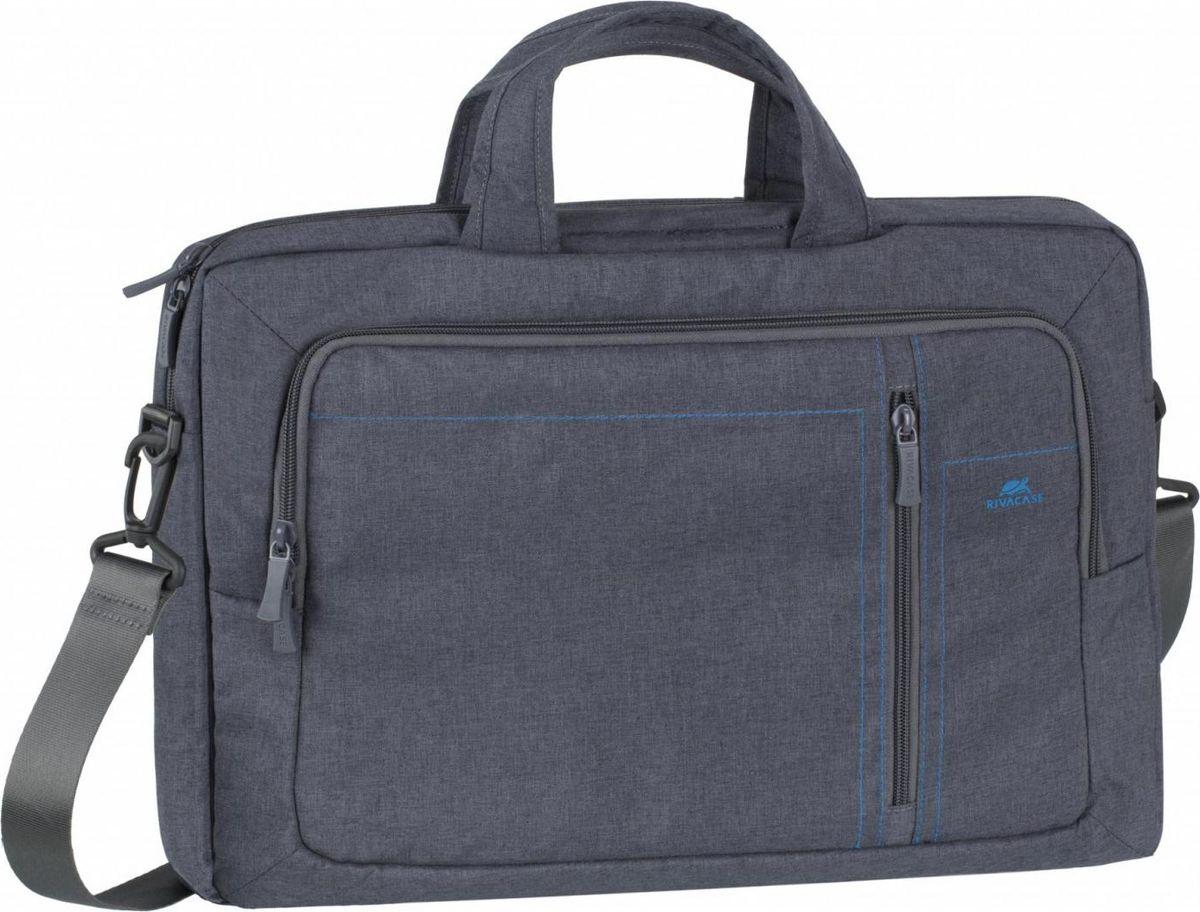 RivaCase 7530, Grey сумка для ноутбука 15,64260403570395Серия сумок для ноутбуков от 13.3 до 15.6. • Стильная сумка из высококачественной, водоотталкивающей ткани. • Легкая, но имеет утолщенные стенки для защиты ноутбука от случайных ударов и царапин, а также от пыли и влаги. • Основное отделение для ноутбука имеет также два внутренних отделения - для планшета до 10.1 и документов. • Внешний передний карман на молнии для хранения аксессуаров, также оборудован панелью-органайзером для хранения визитных карт, флэш-накопителей, смартфона. • Ручки убираются во внешние отделения с двух сторон, что придает сумке более компактный вид.• Двойная застежка молния для удобного доступа к устройству. • Удобные ручки для переноски и наплечные ремни помогут чувствовать себя комфортно в самом долгом путешествии.