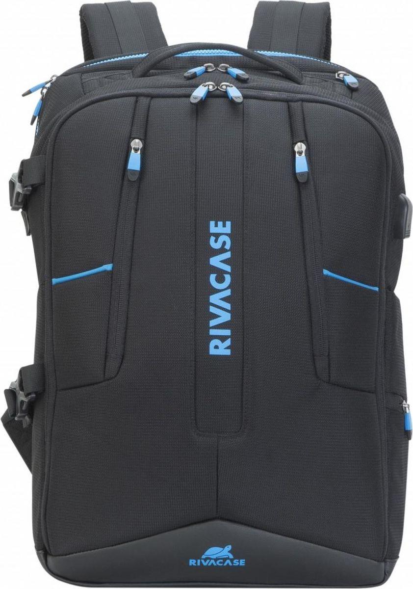 RivaCase 7860, Black рюкзак для ноутбука 17,34260403573198Рюкзак для ноутбука до 17.3. • Многофункциональный рюкзак для профессиональных геймеров, идеально подходит для деловых поездок и туристических путешествий. • Изготовлен из высококачественной, водоотталкивающей ткани с использованием EVA для усиления конструкции. • Основное отделение для ноутбука с вертикальной загрузкой, имеет мягкие стенки, утолщенное дно и дополнительное внутреннее отделение для планшета до 10.1. • Просторная секция на молнии для хранения всех необходимых игровых аксессуаров - наушники, мышь, коврик, полноразмерная клавиатура. • На боковой стороне рюкзака имеется USB-порт для подключения портативного внешнего аккумулятора. • Передний карман на молнии для хранения аксессуаров, зарядного устройства, визитных карт, авторучек, смартфона, документов. • Удобная мягкая ручка для переноски и наплечные ремни со смягчающими подкладками помогут чувствовать себя комфортно в самом долгом путешествии. • Эргономичная спинка рюкзака обеспечивает циркуляцию воздуха для максимального комфорта вашей спины. • На задней стенке имеется ремень крепления к багажной сумке и скрытый карман на молнии для паспорта, бумажника. • Боковой карман для ёмкости с водой. • Нагрудный фиксирующий ремень. • Чехол от дождя в комплекте.