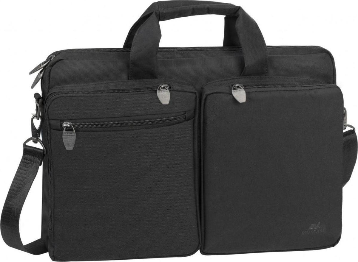 """RivaCase 8530, Black сумка для ноутбука 166901801085309Сумка для ноутбука до 16. • Полнофункциональная сумка для ноутбуков до 16"""". • Сумка выполнена из плотного синтетического материала и имеет утолщенные стенки для лучшей защиты ноутбука от случайных ударов и царапин, а также от пыли и влаги. • Внутренняя контрастная подкладка серебристого цвета. • Два дополнительных внутренних отделения помогут удобно разместить все необходимые документы и планшет до 10.1. • Два внешних передних кармана на «молнии». Один для хранения аксессуаров, флэш-накопителей, также имеется карабин для ключей. Второй оборудован панелью-органайзером для хранения визитных карт, авторучек, смартфона. • Дополнительное отделение на задней панели для хранения аксессуаров, документов. • Двойная застежка молния для удобного доступа к устройству.• Металлическая, оригинальная фурнитура.• Удобные ручки для транспортировки. • Регулируемый, съемный плечевой ремень с мягкой накладкой."""