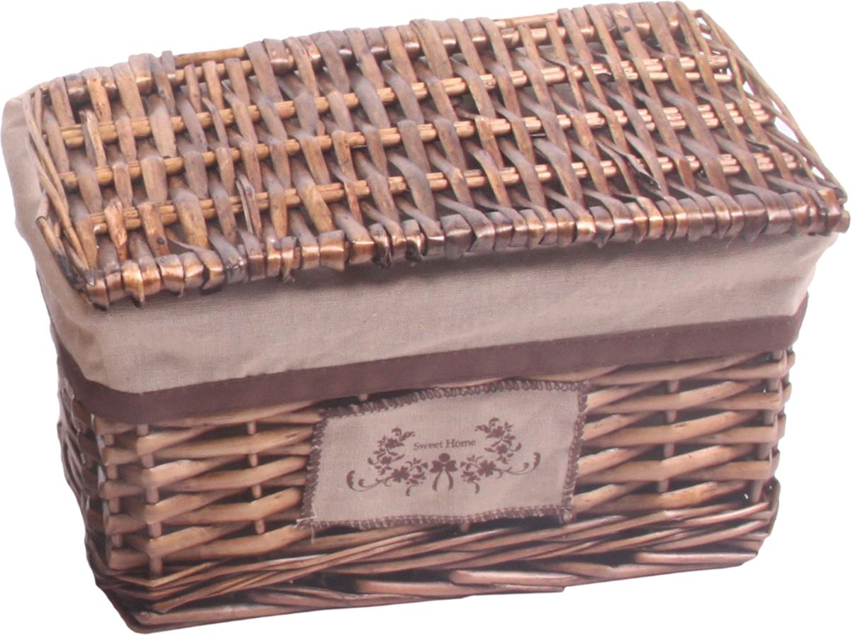 Плетеная стеллажная корзина с крышкой, удобна для использования в гардеробных, шкафах и комодах. Корзина оснащена съемным чехлом из ткани, который легко стирается. При изготовлении корзины используются только натуральные материалы. Материал изготовления корзины: лоза ивы, ткань.